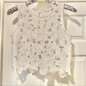 Tea & Cup White Floral Lace Crop Top